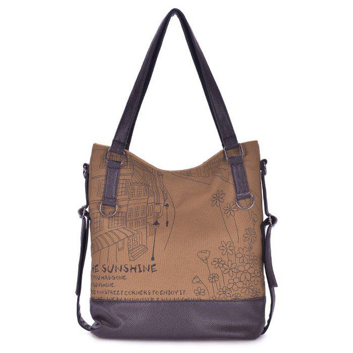 Shops Canvas Panel Printed Shoulder Bag