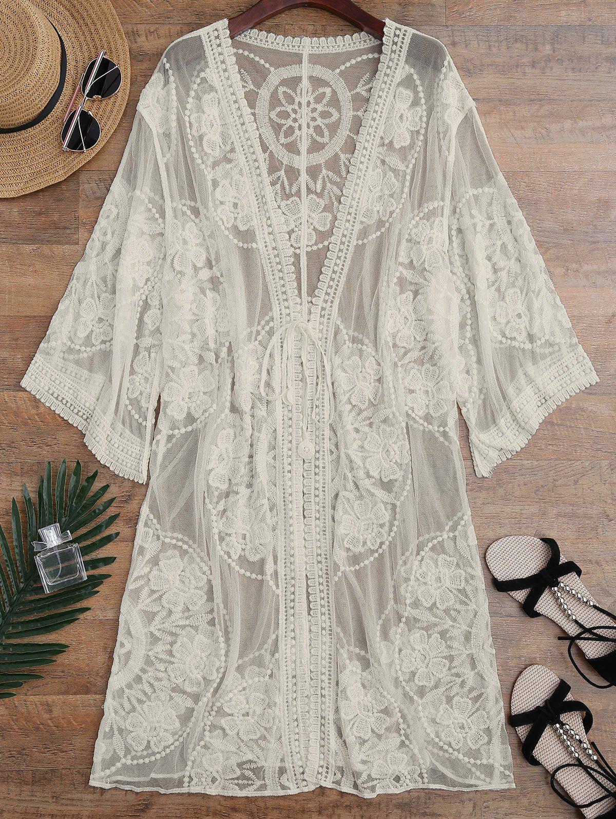 Chic Embroidered Sheer Kimono Cover Up