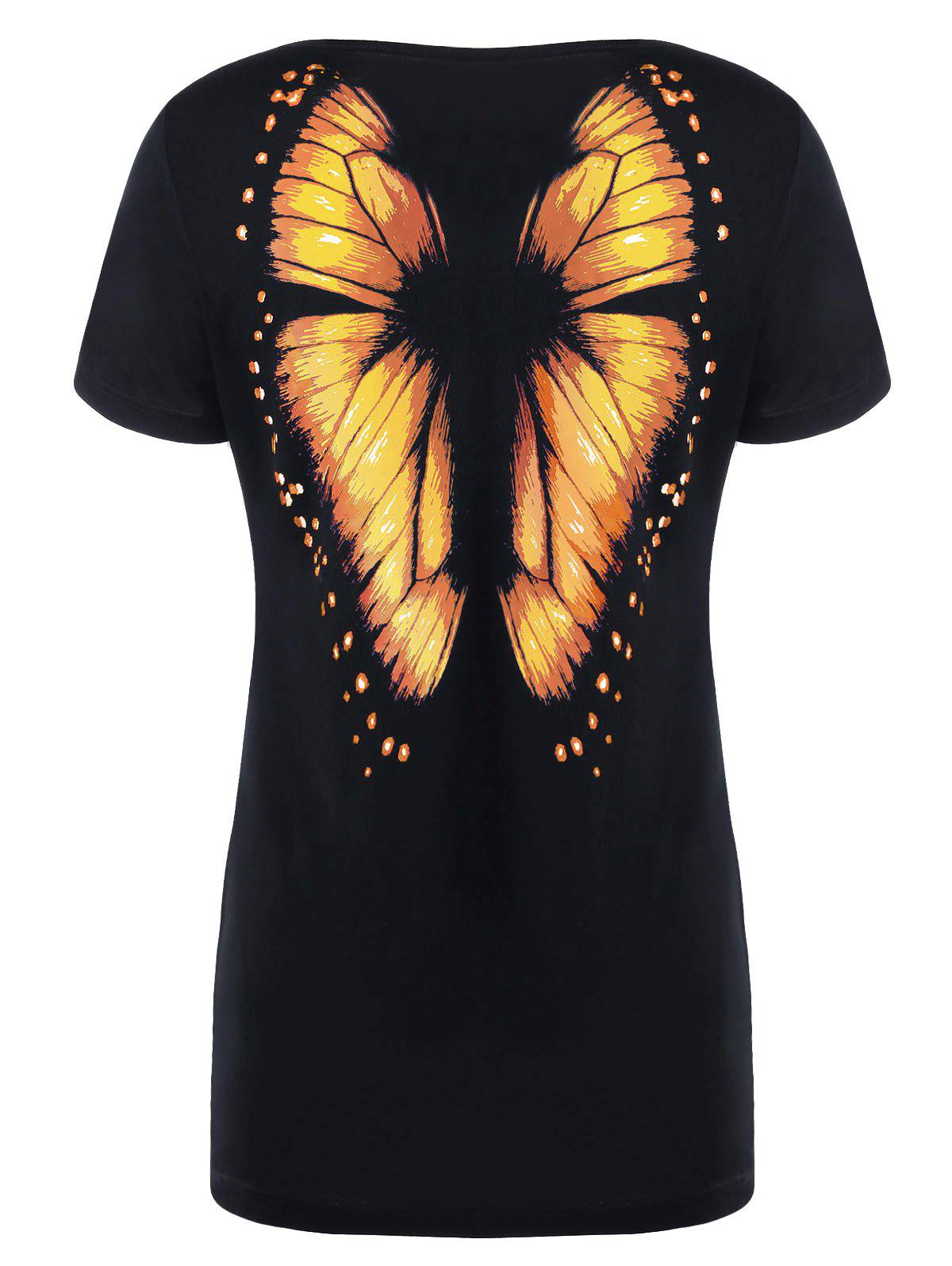 Cheap Butterfly Printed Short Sleeve Tee