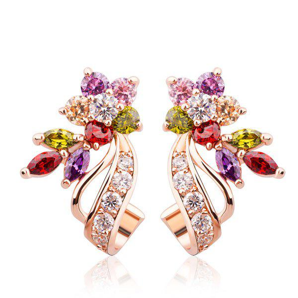 Rhinestone Floral Stud EarringsJEWELRY<br><br>Color: MULTICOLOR; Earring Type: Stud Earrings; Gender: For Women; Metal Type: Alloy; Style: Trendy; Shape/Pattern: Floral; Length: 2.3cm; Weight: 0.0300kg; Package Contents: 1 x Earrings (Pair);
