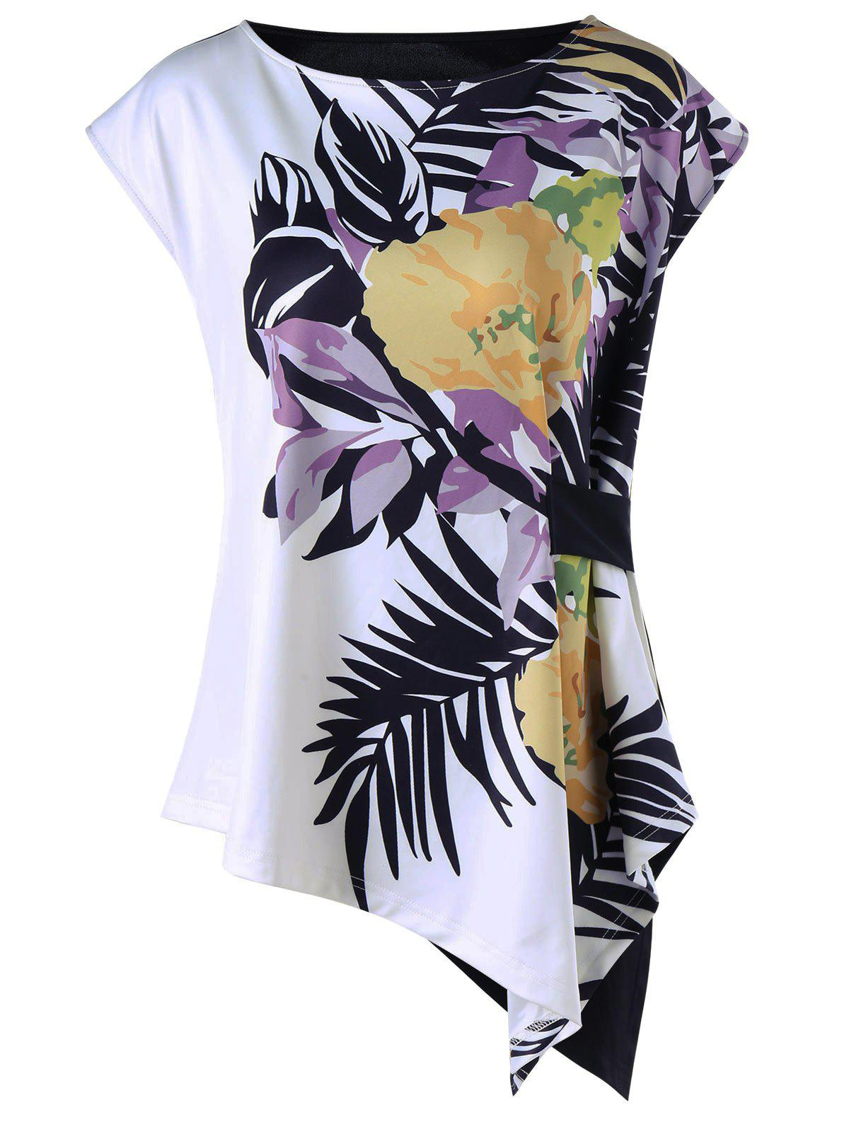 Shops Tropical Leaf Cap Sleeve Asymmetric T-shirt