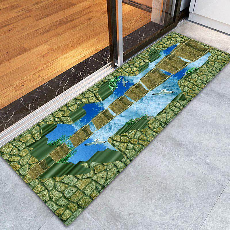 Sale Sky Bridge 3D Pattern Flannel Water Absorption Area Rug