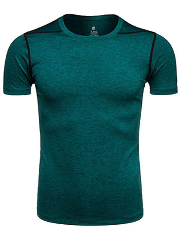 Crew Neck Quick Dry Suture Design Training T-shirtMEN<br><br>Size: M; Color: BLACKISH GREEN; Material: Polyester,Spandex; Pattern Type: Solid; Weight: 0.2020kg; Package Contents: 1 x T-shirt;