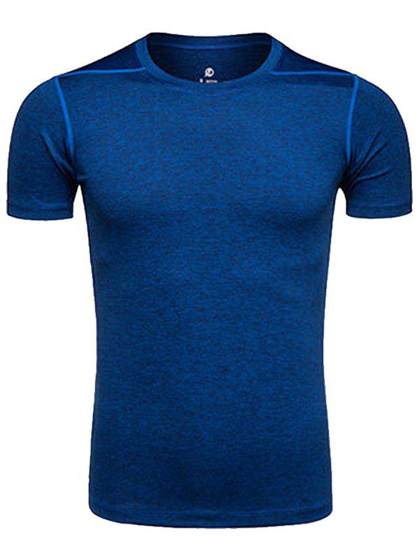 Crew Neck Quick Dry Suture Design Training T-shirtMEN<br><br>Size: XL; Color: DEEP BLUE; Material: Polyester,Spandex; Pattern Type: Solid; Weight: 0.2020kg; Package Contents: 1 x T-shirt;