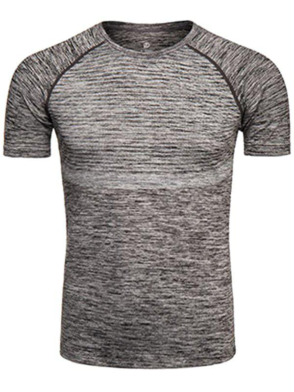 Polka Dot Print Crew Neck Quick Dry Training T-shirtMEN<br><br>Size: XL; Color: GRAY; Material: Polyester,Spandex; Pattern Type: Polka Dot; Weight: 0.2290kg; Package Contents: 1 x T-shirt;