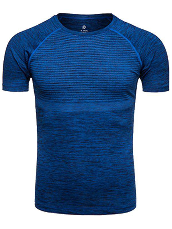 Polka Dot Print Crew Neck Quick Dry Training T-shirtMEN<br><br>Size: XL; Color: DEEP BLUE; Material: Polyester,Spandex; Pattern Type: Polka Dot; Weight: 0.2290kg; Package Contents: 1 x T-shirt;