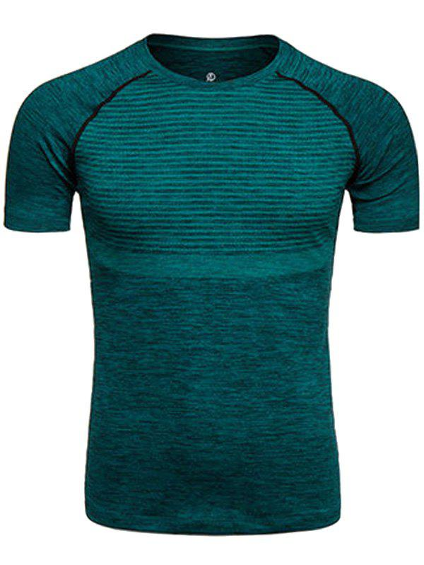 Polka Dot Print Crew Neck Quick Dry Training T-shirtMEN<br><br>Size: S; Color: BLACKISH GREEN; Material: Polyester,Spandex; Pattern Type: Polka Dot; Weight: 0.2290kg; Package Contents: 1 x T-shirt;
