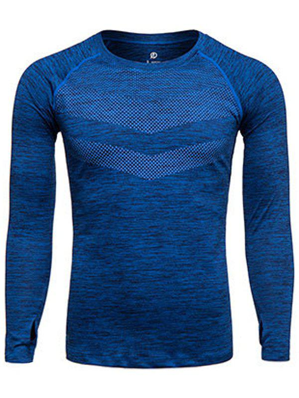 Long Sleeve Printed Quick Dry Training T-shirtMEN<br><br>Size: L; Color: DEEP BLUE; Material: Polyester,Spandex; Pattern Type: Print; Weight: 0.2280kg; Package Contents: 1 x T-shirt;