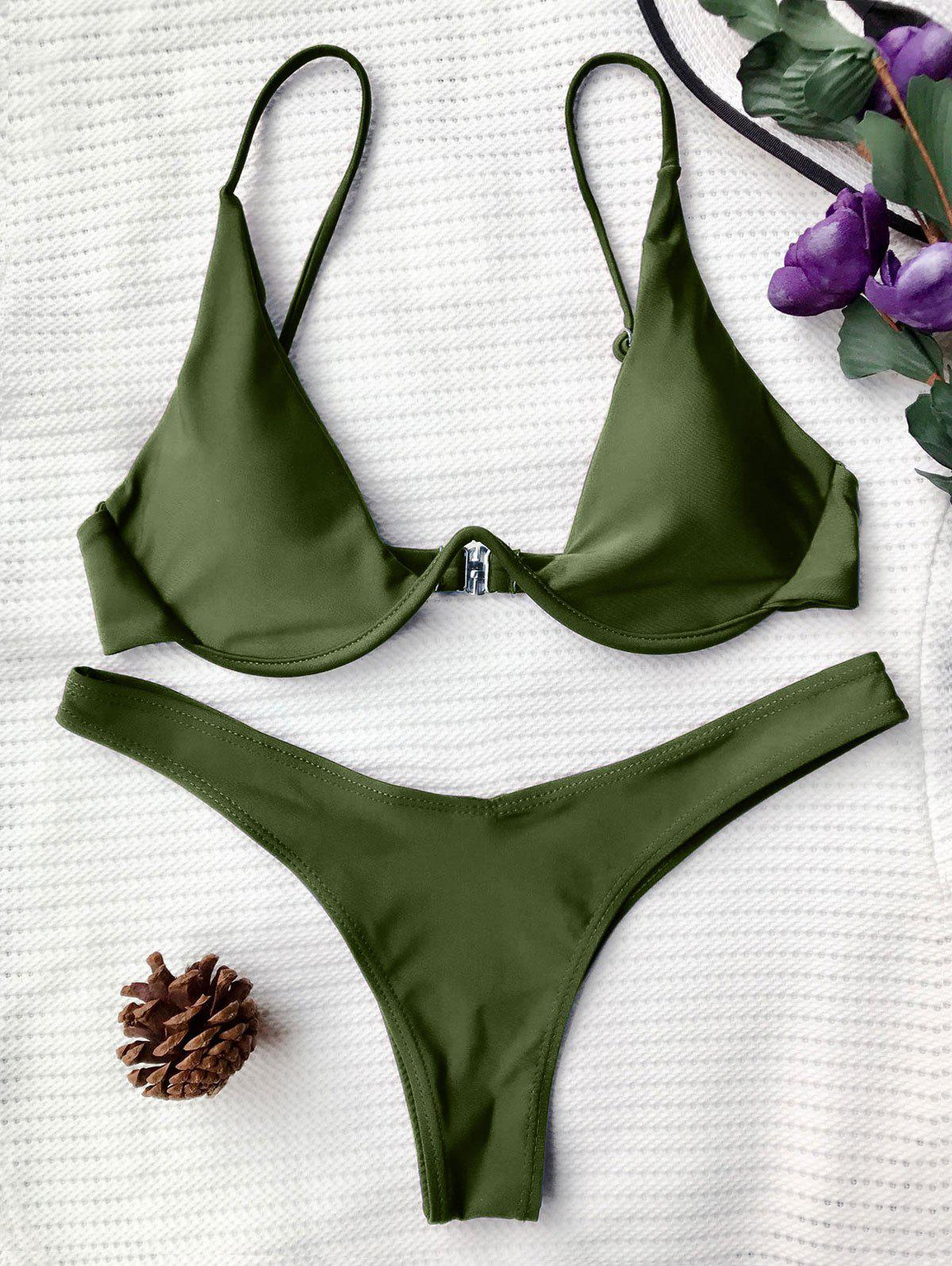 Underwired Plunge Bathing SuitWOMEN<br><br>Size: L; Color: GREEN; Swimwear Type: Bikini; Gender: For Women; Material: Nylon,Polyester,Spandex; Bra Style: Padded; Support Type: Underwire; Neckline: Spaghetti Straps; Pattern Type: Solid; Waist: Low Waisted; Elasticity: Elastic; Weight: 0.2000kg; Package Contents: 1 x Top  1 x Bottoms;