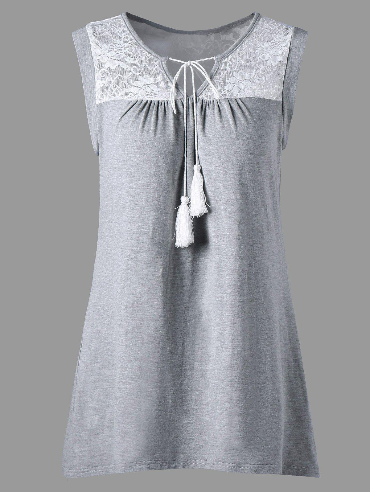 Fashion Sleeveless Sheer Lace Yoke Tunic Top