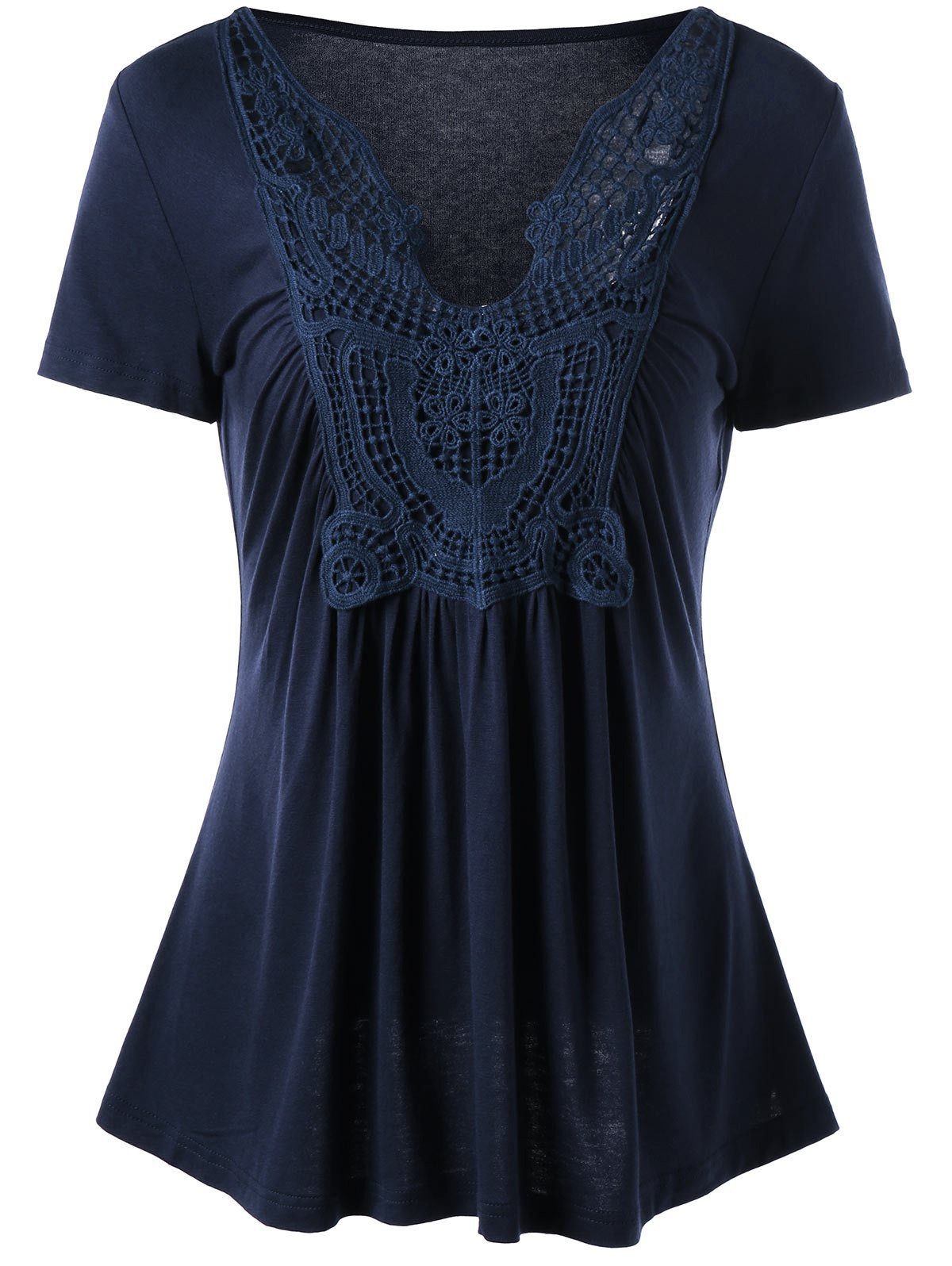 Short Sleeve Crochet Panel Skater T-ShirtWOMEN<br><br>Size: XL; Color: PURPLISH BLUE; Material: Nylon,Spandex; Shirt Length: Regular; Sleeve Length: Short; Collar: V-Neck; Style: Fashion; Season: Fall,Spring,Summer; Pattern Type: Solid Color; Weight: 0.2700kg; Package Contents: 1 x T-Shirt;