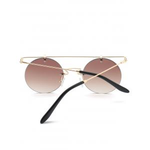 Mirror Straight Long Crossbar Round Rimless Sunglasses -