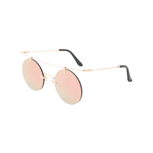 Miroir Straight Long Crossbar Round Rimless Sunglasses - ROSE PÂLE