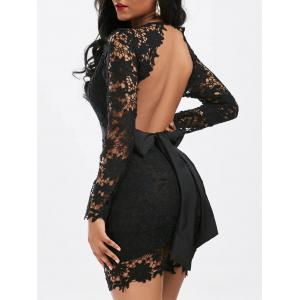 Plunging Neckline Backless Mini Lace Dress