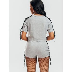 Raglan Sleeve Lace Up Top et Shorts -