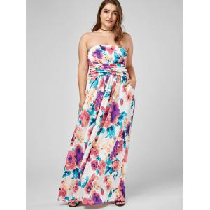 Strapless Floral Plus Size Long Summer Dress -