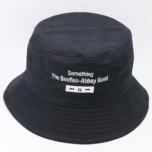 Letters Embroidered Flat Top Bucket Cap - BLACK