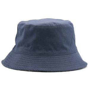 Camouflage with Pure Color Reversible Bucket Hat - STONE BLUE