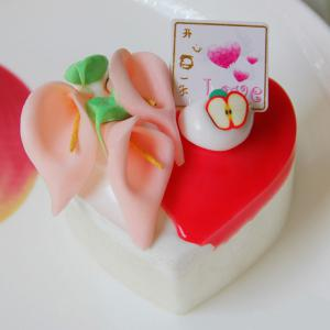 Squishy Toy PU Simulation Heart Shape Cake Model - Red