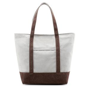 Top Zipper Canvas Tote - Brown