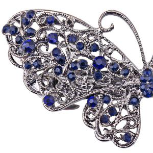 Alloy Hollow Out Butterfly Faux Sapphire Barrette - BLUE