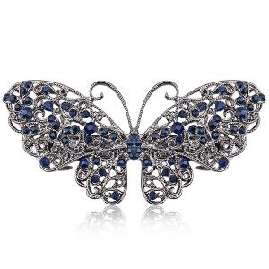 Alloy Hollow Out Butterfly Faux Sapphire Barrette - Blue - S