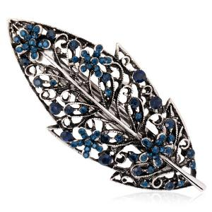 Hollow Out Leaf Retro Faux Sapphire Barrette