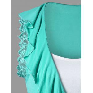 Ruffle Trim High Low T-shirt with Camisole - MINT 2XL