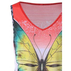 Leopard with Butterfly V Neck Sleeveless T-shirt -