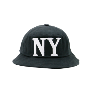 Round Top Bucket Hat with Letters Embroidery - Full Black