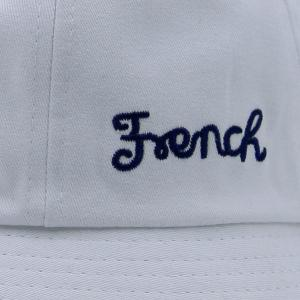 Round Top Letters Embroidered Bucket Hat - WHITE