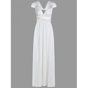 Convertible Floor Length Low Cut Party Formal Dress - WHITE XL