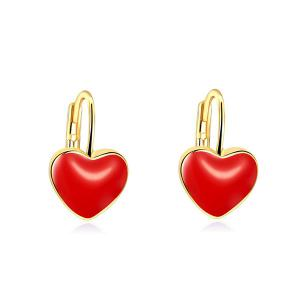 Heart Shape Hoop Drop Earrings - Red