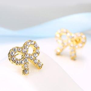 Rhinestoned Bows Tiny Stud Earrings