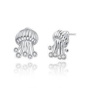 Rhinestone Jellyfish Stud Tiny Earrings