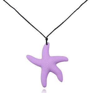 Silicone Starfish Rope Pendant Necklace