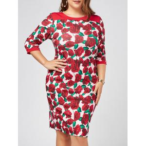 Plus Size Printed Floral Bodycon Dress with Sleeves