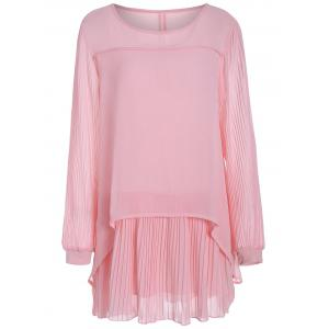 Plus Size  Chiffon Pleated Long Sleeve Shift Dress