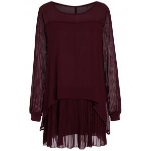 Plus Size  Chiffon Pleated Long Sleeve Shift Dress - Wine Red - 4xl
