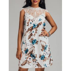 Crochet Trim Crew Neck Floral Dress - White - 2xl