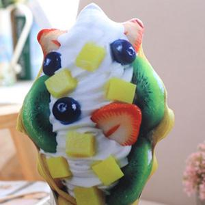 Simulation Ice Cream Throw Pillow Squishy Food Toy - GREEN
