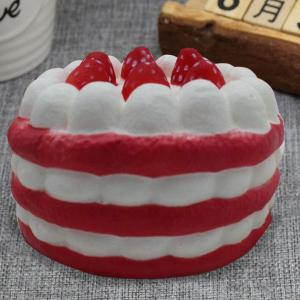 Slow Rising Simulation Strawberry Cream Cake Squishy Toy - RED