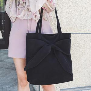 Faux Suede Bow Shoulder Bag - Black - 39
