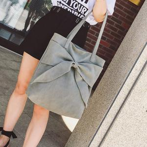 Faux Suede Bow Shoulder Bag - GRAY