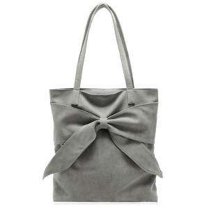 Faux Suede Bow Shoulder Bag - Gray - 38