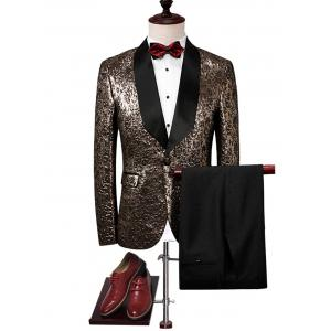 One Buttton Shawl Collar Metallic Blazer Suit