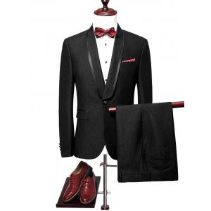 One Buttton Shawl Collar Blazer Suit