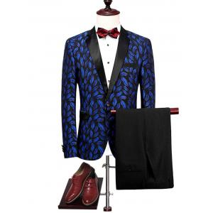 Lapel Lips Pattern Blazer Suit