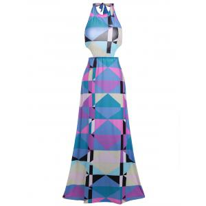 Halter Backless Geometric Print Maxi Dress - Multicolore S