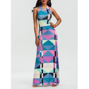 Halter Backless Geometric Print Maxi Dress